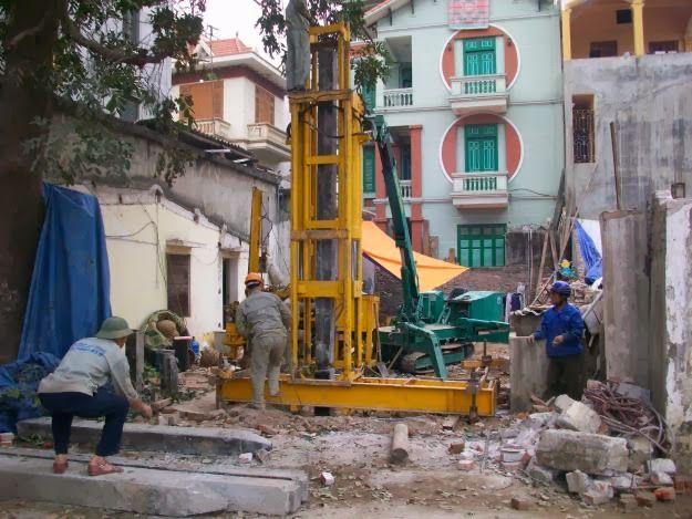 Thi công ép cọc bê tông cho nhà dân chất lượng